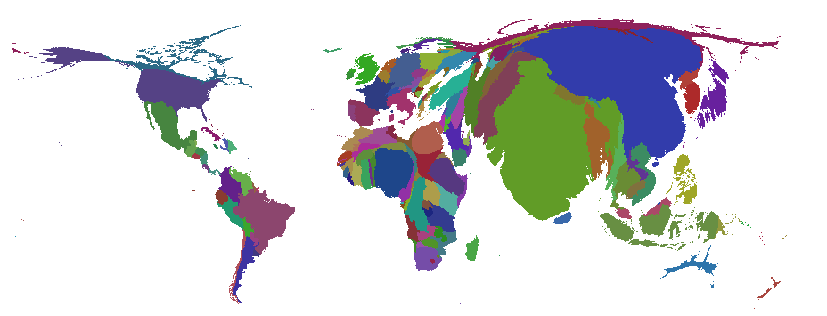 Cartogram of the world based on population size.