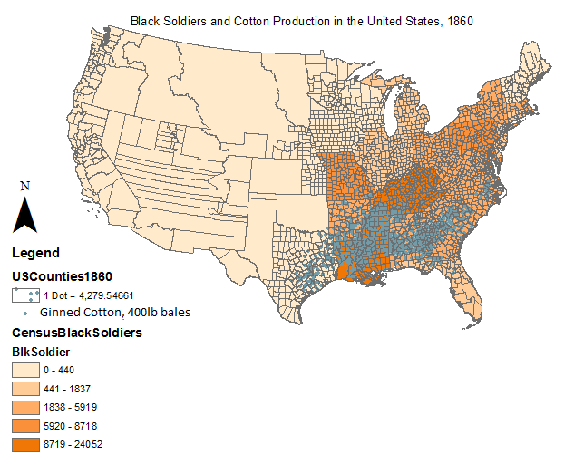 Map showing Number of Black Soldiers and Cotton Production in the United States in 1860