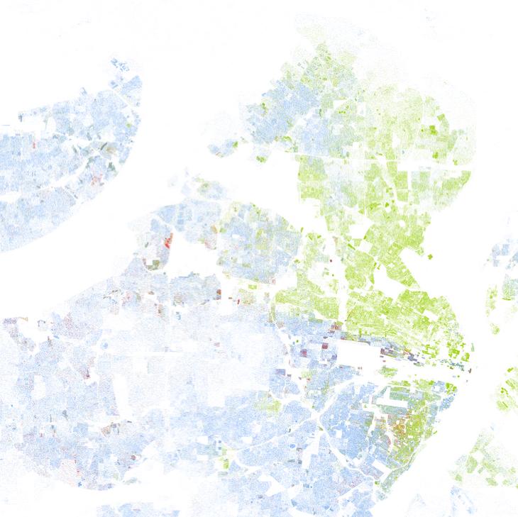 Map of racial segregation in St. Louis, Missouri