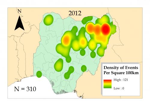 Kernel density map of Boko Haram conflicts in Nigeria 2012