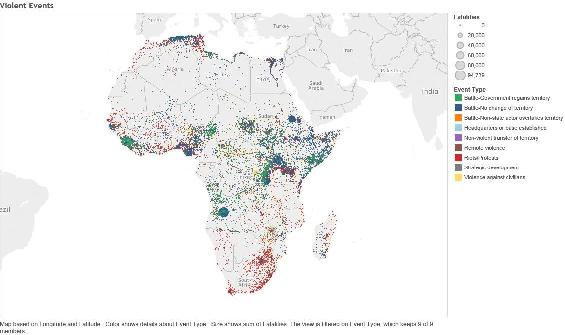A map showing fatality and even types of different violent events in Africa