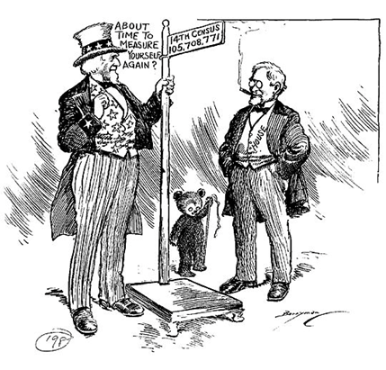 This political cartoon-style illustration depicts Uncle Sam measuring population using the 14th national census.
