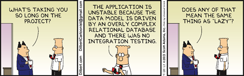 "This Dilbert comic strip features a boss and his employee, Dilbert, in an office. The boss asks ""What's taking you so long on the project?"" Dilbert replies, ""The application is unstable because the data model is driven by an overly complex relational database and there was no integration testing."" His boss asks, ""Does any of that mean the same thing as lazy?"""